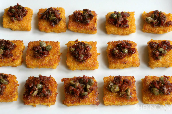 Pan friend polenta with sundried tomato and anchovy tapenade
