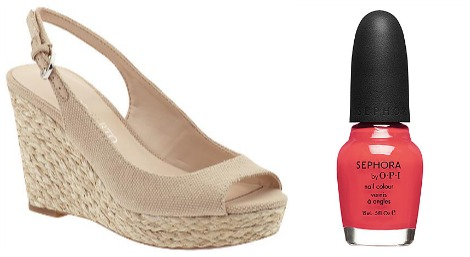 Beverly Mitchell wedge and nail polish