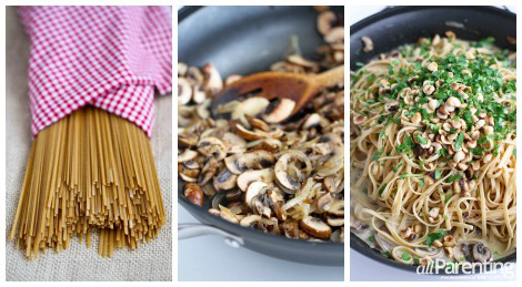 Linguini with mushrooms and mascarpone