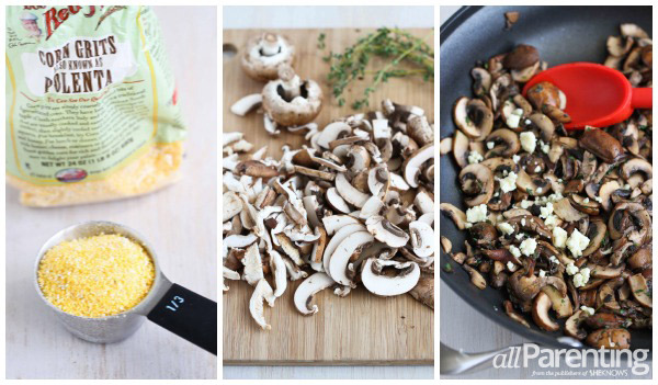 Polenta with wild mushroom collage