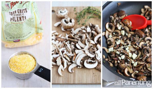 Polenta with wild mushroom collage