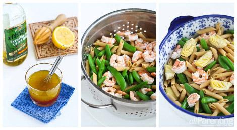 Basil shrimp pasta salad prep