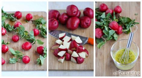 Potato radish salad prep