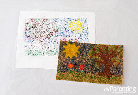 Crayon sand paper pictures