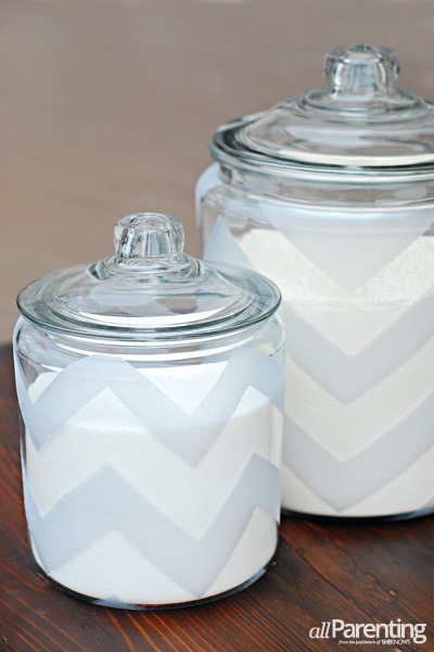 allParenting chevron etched glass canisters