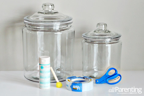 Chevron etched glass canisters