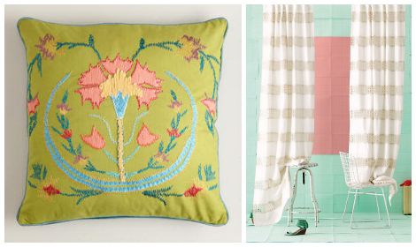 Granny Chic home- pillows curtains