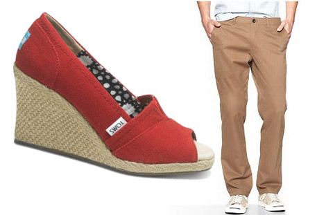 Men's pants and TOMS wedges