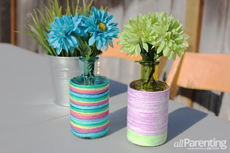 allParenting yarn-wrapped Mother's Day vases