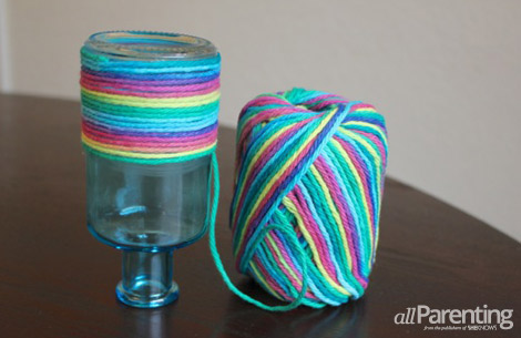 yarn wrapped mothers day vase halfway wrapped