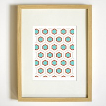 Graphic Geometric Honeycomb Pattern Art Print