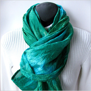 A Gorgeous Green Hand-Dyed Infinity Scarf