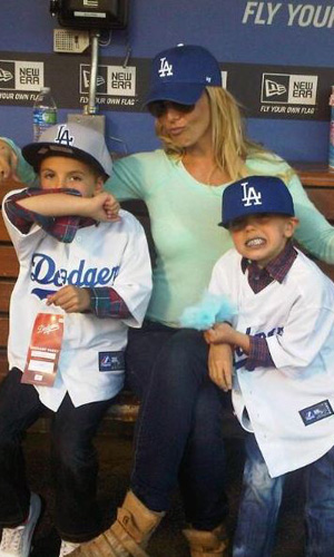 Britney Spears and her sons at Dodgers game