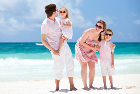 Couple on honeymoon with kids