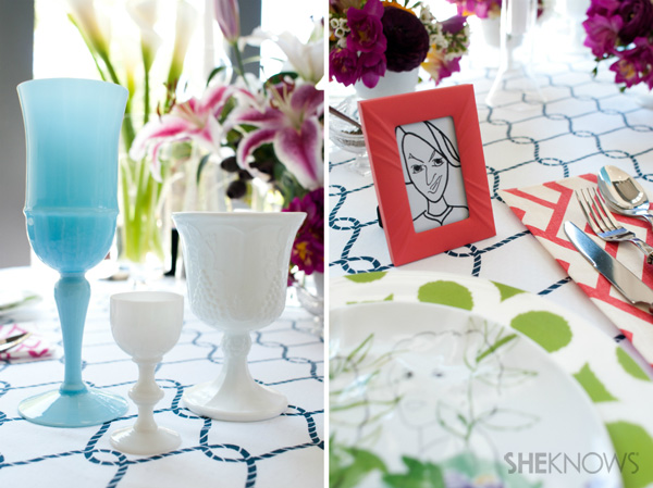 Mother's Day tablescape -- stemware and placecard