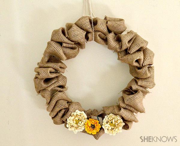 Fluffy burlap wreath