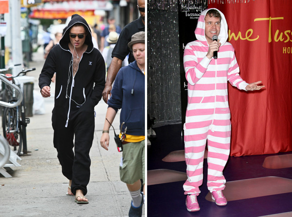 Ed Westwick and Perez Hilton wearing onesies