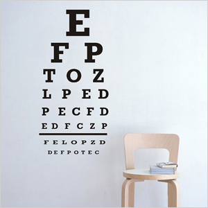 Eye chart wall decal