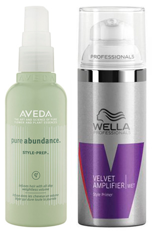 Aveda Style Prep and Wella Velvet Amplifer