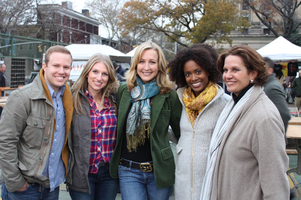 Lara Spencer with cast of HGTV's Flea Market Flips