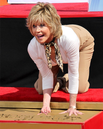 Jane Fonda enshrined her hand- and footprints in concrete at the TCL Chinese Theatre