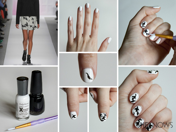 4 nail design tutorials inspired by fashion designers the silhouettes of the flying birds is slightly abstract and is a great option for a tropical nail design any time of the year prinsesfo Images