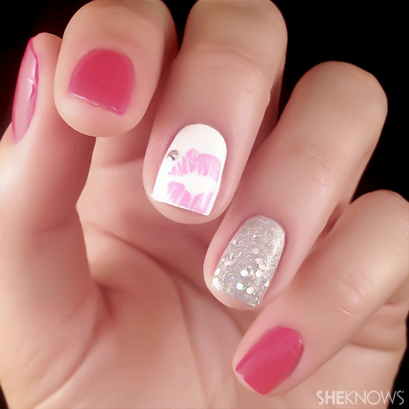 Pink U Rock kissable tips nail art