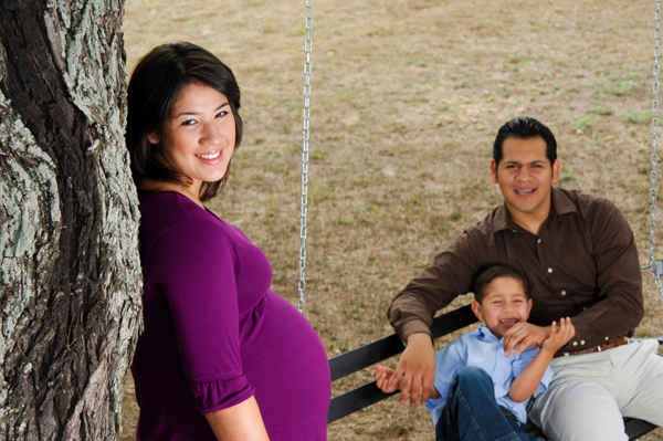 Pregnant woman and her family