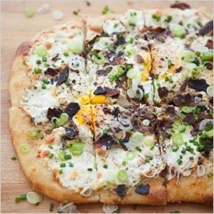 Savoury breakfast pizza