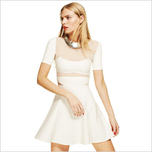 Elizabeth and James sheer panel flare dress