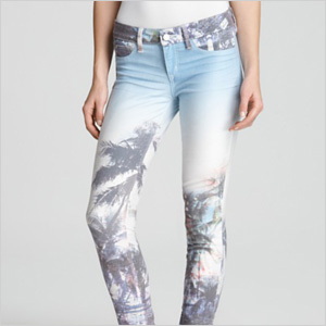 SOLD design lab Jeans - Paradise Printed Skinny jeans