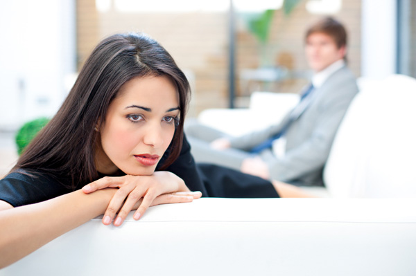 Unhappy woman thinking about relationship
