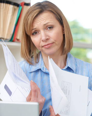 Woman upset with finances