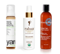 Yarok Mousse and Rahua spray and Innersense curl control