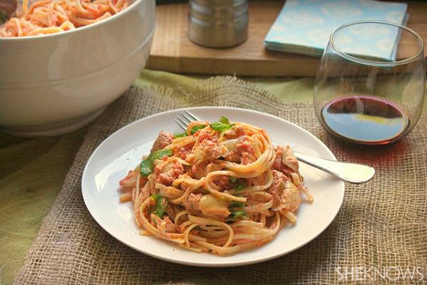 Linguini with chicken and parmesan artichoke blush sauce recipe