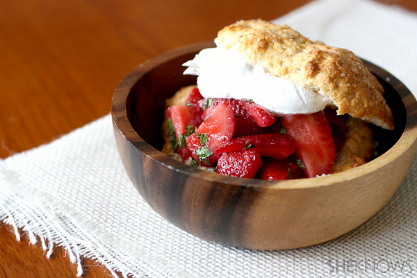 Old fashioned strawberry and mint shortcake