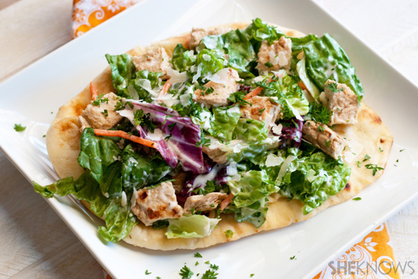 Easy chicken ceaser salad pizza