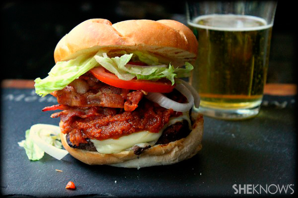 Bacon cheeseburger with peanut butter sriracha ketchup