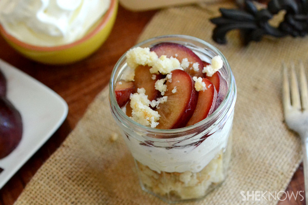 Roasted plum cobbler parfait recipe