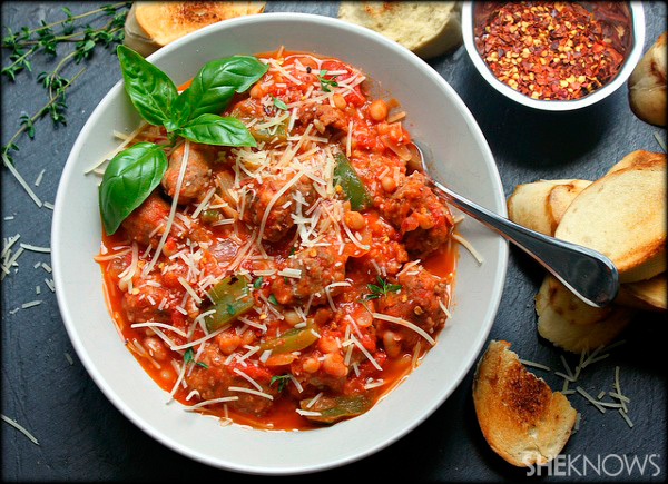 Sausage and white beans in a spicy rustic red sauce