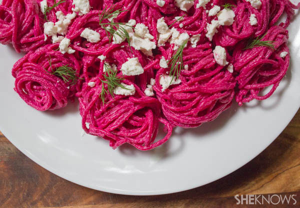 Beet pasta with feta and dill | SheKnows