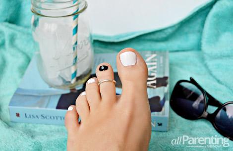 allParenting all white mani pedi with black toe