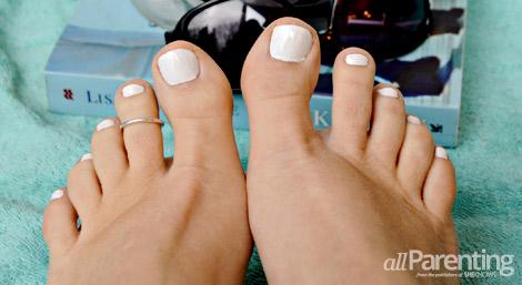 allParenting all white mani pedi