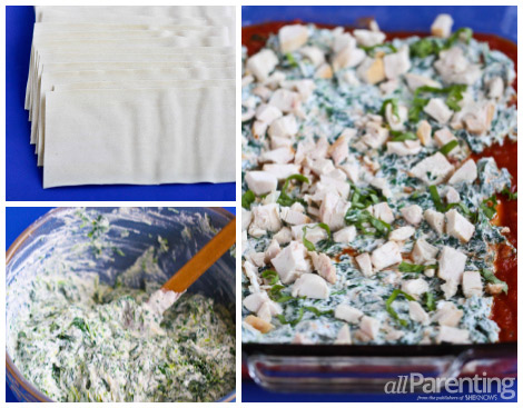 allParenting Chicken and spinach lasagna collage