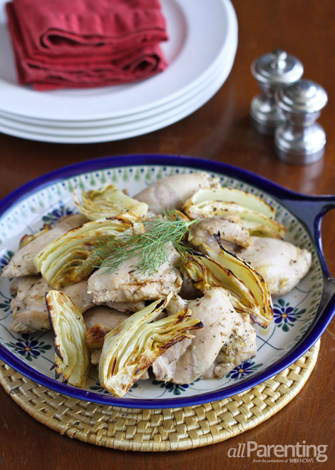 allParenting Roasted chicken thighs with lemon, fennel and oregano