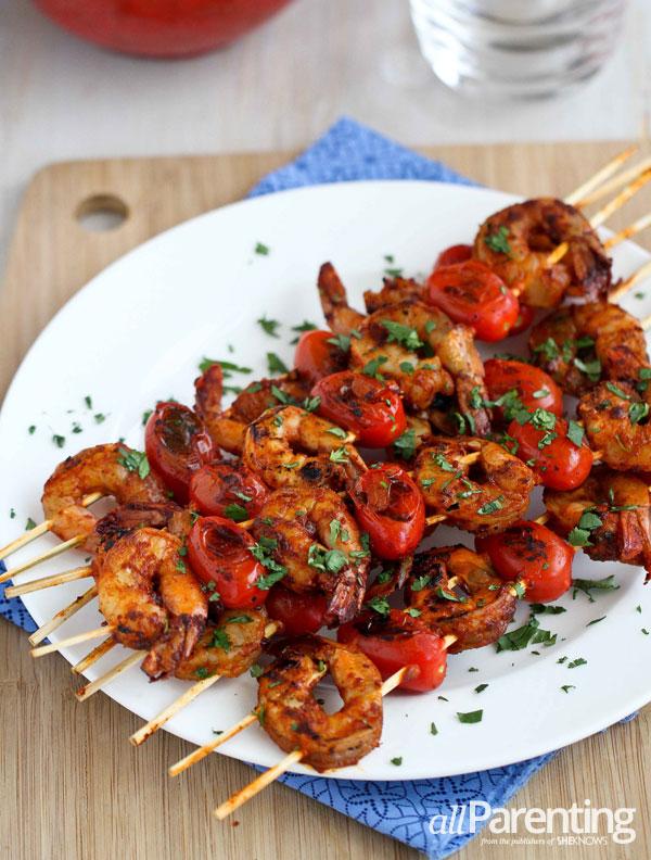allParenting Spicy shrimp & tomato kebabs
