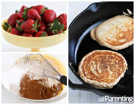 allParenting Whole wheat pancakes with fresh strawberry sauce collage