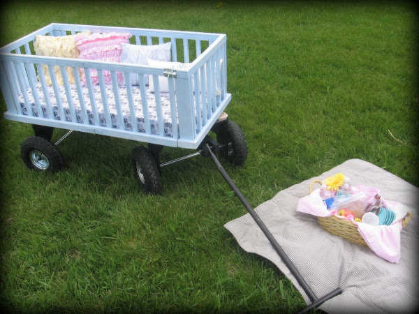 crib upcycling- toddler wagon