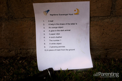 allParenting nighttime activities scavenger hunt