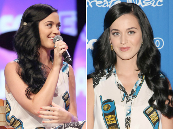 Katy Perry's hairstyle with front clipped back